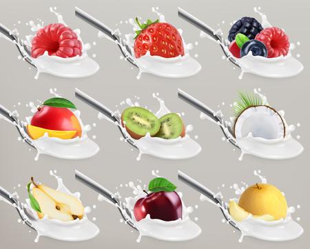 Fruit and berries yogurt. Milk splash. 3d realistic vector icon set Illustration