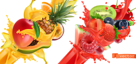 Fruit burst. Splash of juice. Sweet tropical fruits and mixed berries. Mango, banana, pineapple, papaya, strawberry, raspberry, blueberry, watermelon. 3d realistic vector icon set Stockfoto - 106618036