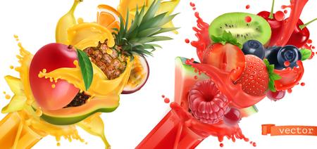 Obst platzte. Spritzer Saft. Süße tropische Früchte und gemischte Beeren. Mango, Banane, Ananas, Papaya, Erdbeere, Himbeere, Blaubeere, Wassermelone. Realistischer Vektorsymbolsatz 3d