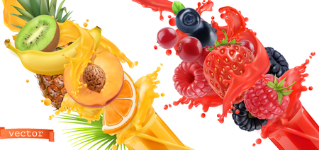Fruit burst. Splash of juice. Sweet tropical fruits and mixed forest berries. 3d realistic vector icon set Illustration