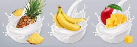 Fruit yogurt. Banana, mango, pineapple and milk splashes. 3d realistic vector icon set