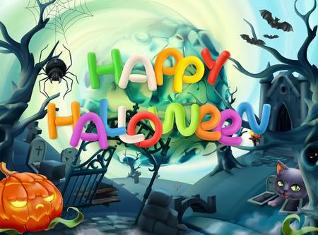 Happy Halloween. 3d vector background