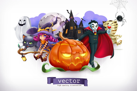 Happy Halloween. Pumpkin, spider, cat, witch, vampire, 3d vector illustration