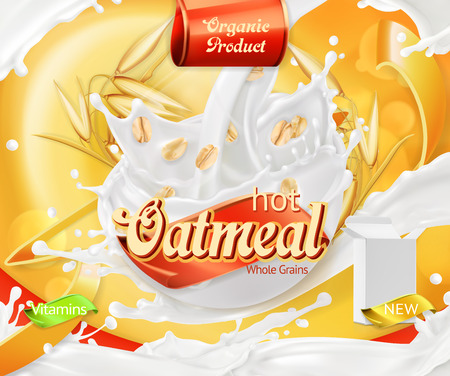 Oatmeal. Oat grains and milk splashes. 3d realistic vector, package design
