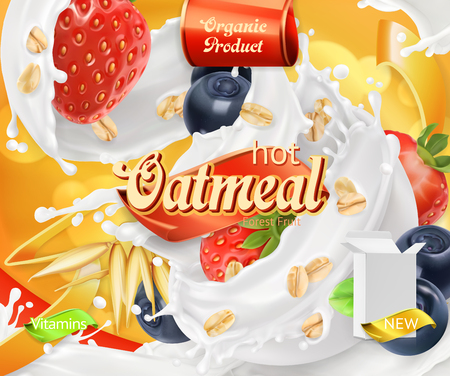 Oatmeal. Oat grains, strawberry, blueberry and milk splashes. 3d realistic vector, package design