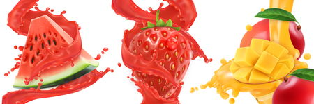 Splash of juice. Watermelon, strawberry, mango, summer fruits and berries. 3d realistic vector icon set