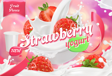 Strawberry yogurt. Fruits and milk splashes. 3d realistic vector package design Illustration