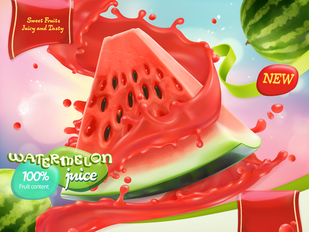 Watermelon juice. Sweet fruits. 3d realistic vector, package design Illustration