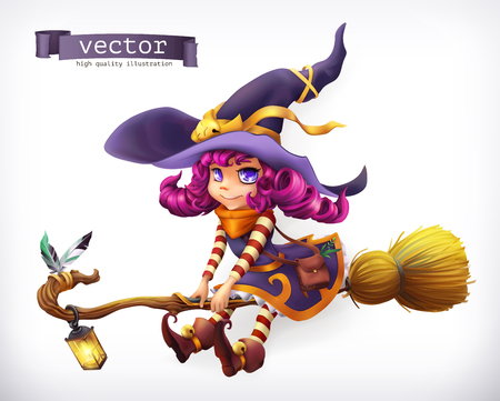 Witch. Happy Halloween, 3d vector icon Illustration