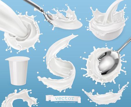 Yogurt, milk splashes. 3d vector element set. Package design