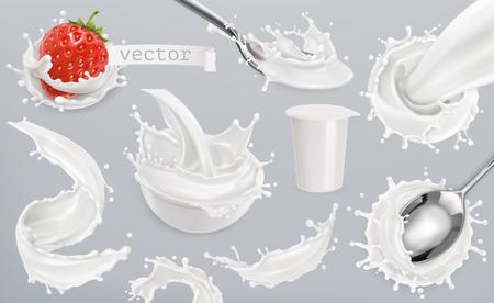 Yogurt, milk splashes. Set 3d vector elements, package design