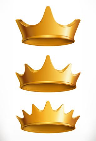 Crown, gold emblem. Illustration