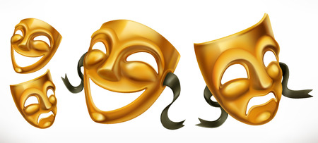 Gold theatrical masks.