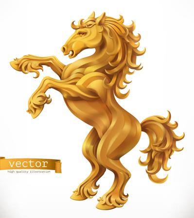 Horse, gold emblem.