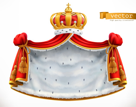 Royal mantle and crown. 3d vector icon Illustration