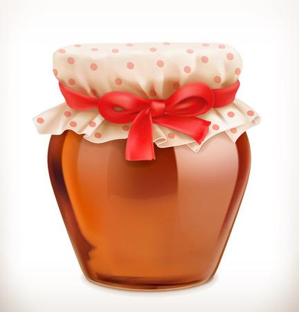 Jar of honey. 3d vector icon Illustration