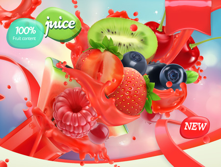 Mix fruits and berries. Splash of juice. Strawberry, raspberry, blueberry, watermelon. 3d realistic vector, package design Vetores