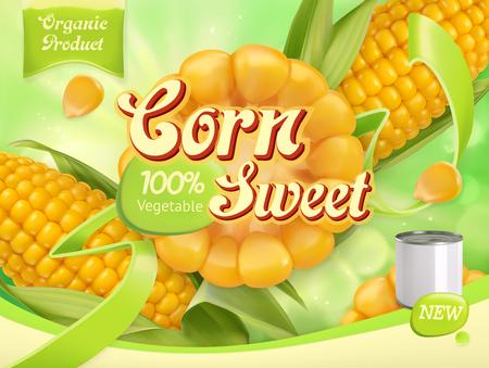 Sweet corn. 3d realistic vector, package design