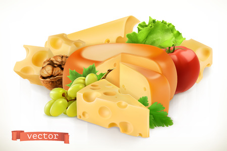 Cheese, fruits and vegetables.