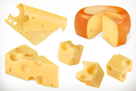 Cheese. 3d vector icon set Illustration
