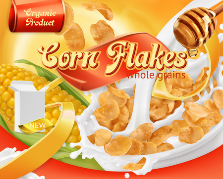 Corn flakes, honey and milk splashes. 矢量图像