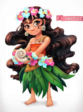 Little girl with a seashell. Funny character 3d vector icon