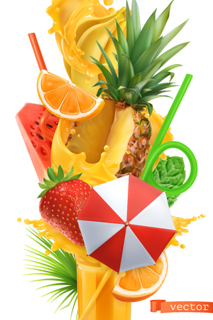 Splash of juice and sweet tropical fruits. Summer cocktail 3d vector