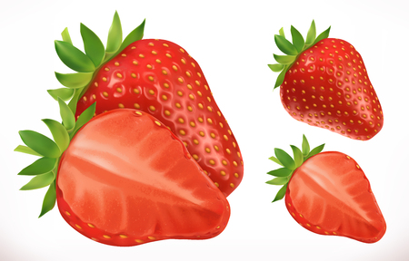Strawberry. Fresh fruit. 3d realistic vector icon