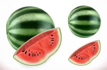 Watermelon. Fresh fruit 3d realistic vector icon