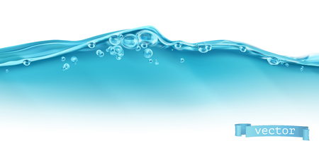 Wave of water and bubbles. 3d vector