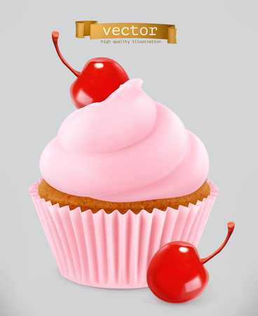 Cupcake with cherry. 3d realistic vector icon Çizim