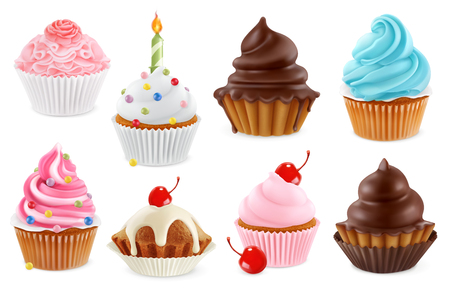 Cupcake, fairy cake. 3d realistic vector icon set