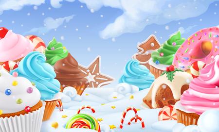 Cupcake, fairy cake. Winter sweet landscape. Christmas background. 3d vector illustration