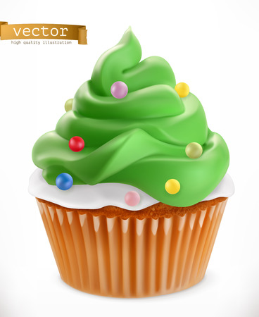 Cupcake. Christmas decorations, 3d realistic vector icon