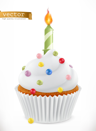 Festive cupcake with candle. 3d realistic vector icon Çizim