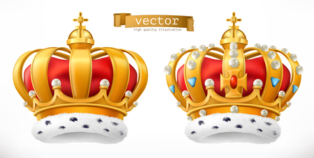 Gold crown, king. 3d realistic vector icon 일러스트
