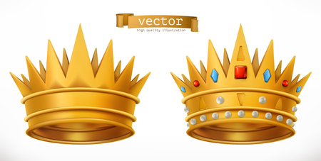 Gold crown, king. 3d realistic vector icon