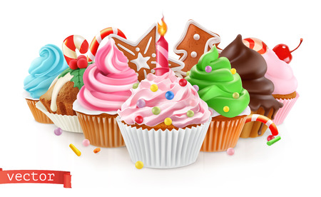 Holiday. Sweet dessert. Cake, cupcake. 3d realistic vector Çizim