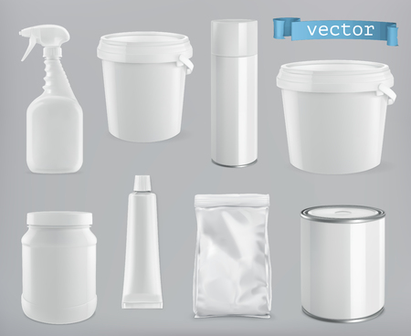 Packaging building and sanitary. White plastic, metal and paper pack. 3d realism, vector mockup set
