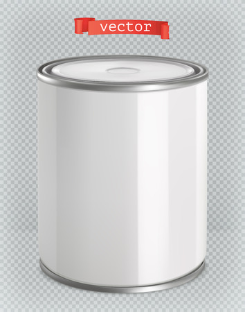 Packaging building and sanitary. White tin of paint. 3d realism, vector mockup Çizim