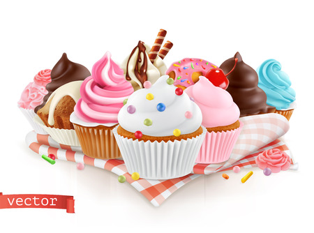 Pastry shop, confectionery. Sweet dessert. Cake, cupcake. 3d realistic vector Illustration
