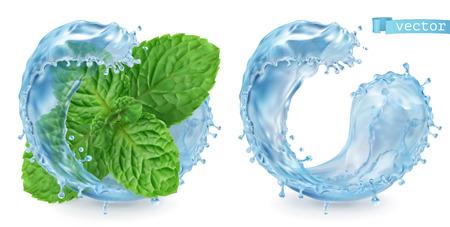 Splash water and mint. 3d realistic vector Çizim