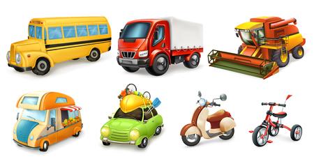 Transportation 3d vector icon set. Bicycle, scooter, car, van, combine, truck, bus