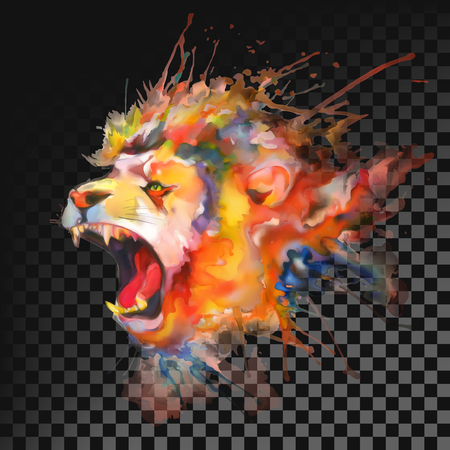Watercolor painting. Roaring lion. Transparent on dark background Ilustração