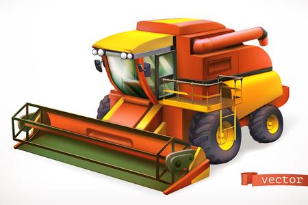 Combine harvester 3d realistic vector icon Çizim