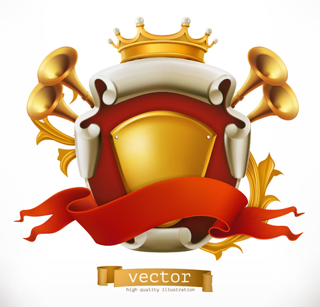 Crown and Shield. King. 3d vector icon Illustration