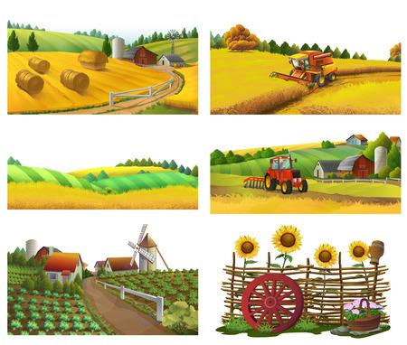 Farm, rural landscape, vector set