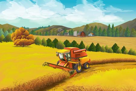 Bauernhof, Vektorhintergrund. Ländliche Landschaft