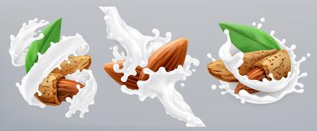Almond and milk splash. 3d realistic vector icon Vecteurs
