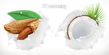 Éclaboussure d'amande, de noix de coco et de lait. vecteur réaliste 3D